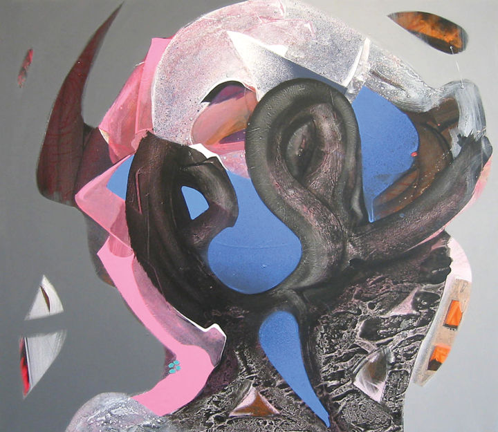 Protector - Painting,  27.6x31.5x0.8 in, ©2004 by Pribi -                                                                                                                                                                                                                                                                                                                                                                                                                                                                                                                                                                                                                                                                                                                                                                                                                                                                                                                                                                                                                                                                                                                                                                                                                                      Abstract, abstract-570, Canvas, Wood, Fantasy, Politics, Portraits, Religion, Spirituality, Protector, Head, symbol, Guardian, religion, Spirit, Art, Pribi, Pribicevic, blue, pink, Jesus, Christ, policeman, politics, ambiguity, equivoke