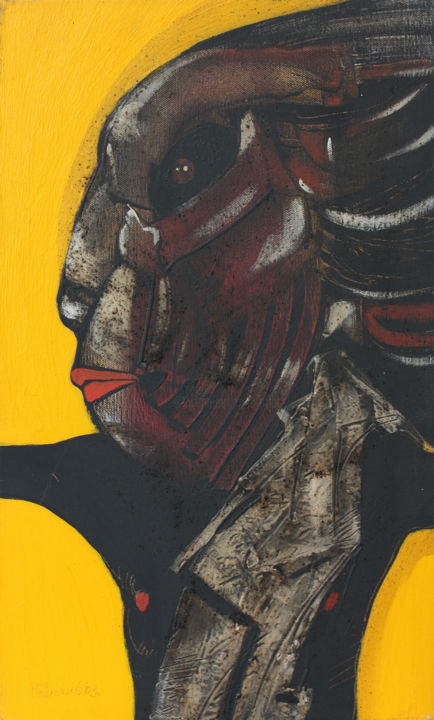 Warrior of Fire - Painting,  19.7x11.8x0.8 in, ©2003 by Pribi -                                                                                                                                                                                                                                                                                                                                                                                                                                                                                                                                                                                                                                                                                                                                                                                                                                                                                                                                                                                                                                                                                                  Expressionism, expressionism-591, Canvas, Wood, Dark-Fantasy, Spirituality, Warrior, Fire, mask, symbol, expression, art, Pribi, Pribicevic, paint, yellow, power, potency, vigor, stamina, painting, image, fantasy