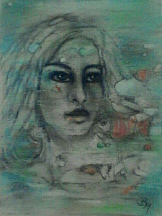 Ozeana - Painting, ©2018 by BarbaraM -                                                                                                                                                                                                                                                                                                                                                                                                                                                                                                                          Portraits, face, portrait, painting, canvas, contemporary, colored, fish, water, pastel, pastel painting