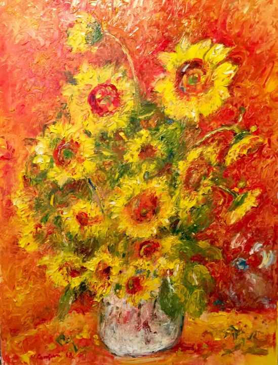 girasoli n4 - Painting,  31.5x23.6 in, ©2018 by Primo Canepari -                                                                                                                                                                          Impressionism, impressionism-603, Flower