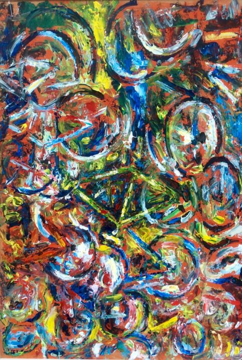 La bike - Painting,  39.4x27.6 in, ©2016 by Primo Canepari -                                                                                                                                                                          Expressionism, expressionism-591, Bike