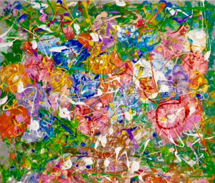 Rose per Te - Painting,  31.5x35.4x0.8 in, ©2017 by Primo Canepari -                                                                                                                          Expressionism, expressionism-591