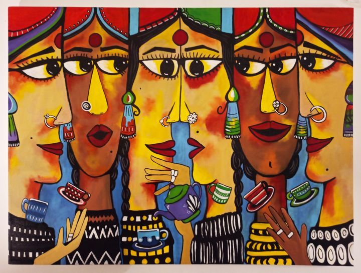 """Painting titled """"Chai pe Charcha"""" by Prinkle Mehta, Original Art, Acrylic"""