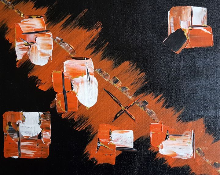 Dia - Painting,  9.1x11.8 in, ©2020 by Prisca Adam -                                                                                                                          Abstract, abstract-570