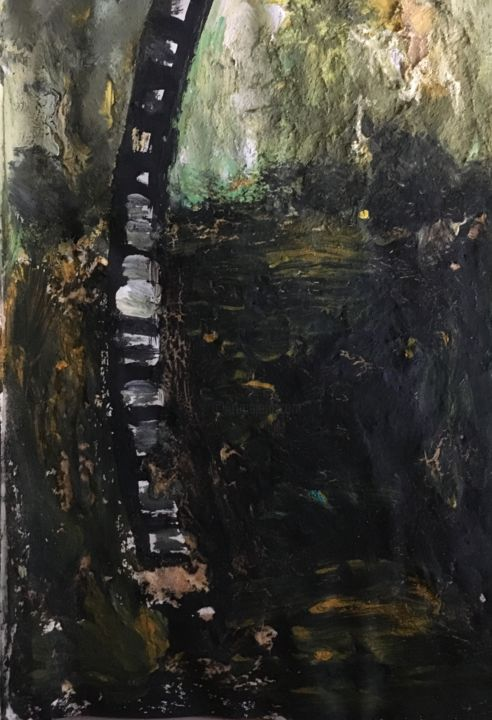 """Painting titled """"The Ladder"""" by Broken God, Original Art, Acrylic"""