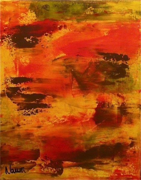 TERRE DE FEU - Painting,  11.8x9.5 in, ©2010 by CHICHE YOHAN  EDWIGE LEPRIN -                                                                                                                                                                          Abstract, abstract-570, ABSTRAIT NARIN PEINTRE DEBUTANT PROFESSEUR LEPRIN ACRYLIQUE COUTEAU COULEURS COLOMBES CONTEMPORAIN
