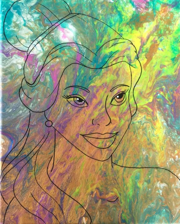 Beauty - Painting,  27x22 cm ©2019 by Prométhée -                            Cartoon, Beauty and the beast, pink, blue, yellow, gold, drawing, dessin