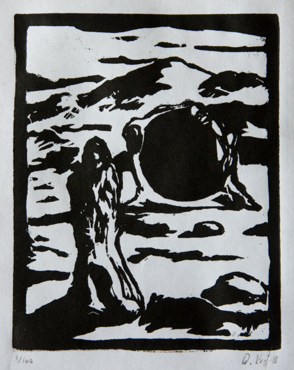 Desert Mirror - Printmaking,  12x9 cm ©2018 by Przemek Kret -                                                                                    Surrealism, Paper, Black and White, Dark-Fantasy, Transportation, Desert, Mirror, Portal, Magic, Magician