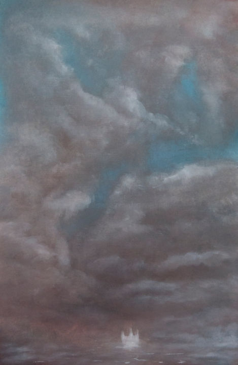 Open Waters, Open Skies - Painting,  42x28 cm ©2018 by Przemek Kret -                                                                                    Impressionism, Symbolism, Paper, Boat, Seascape, Freedom, Sailin, Open Waters, Auspicious Winds, Clouds, Sky
