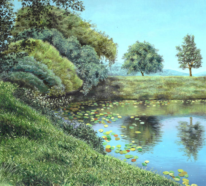 """Painting titled """"Little Pond"""" by Pushpendra, Original Art, Oil"""