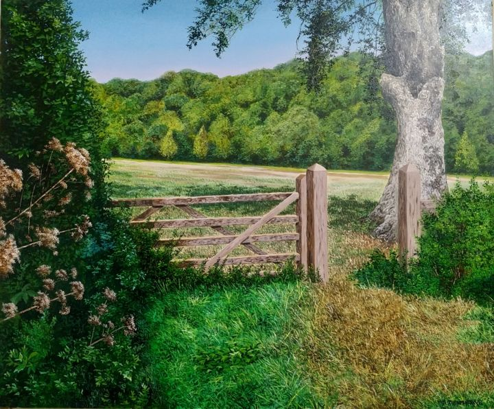 """Painting titled """"Boundary wall"""" by Pushpendra, Original Art, Oil"""