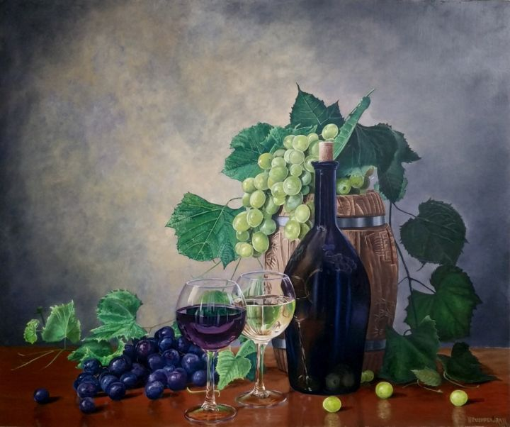 """Painting titled """"Black and Green gra…"""" by Pushpendra, Original Art, Oil"""