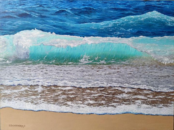"""Painting titled """"Seascape1"""" by Pushpendra, Original Art, Oil"""