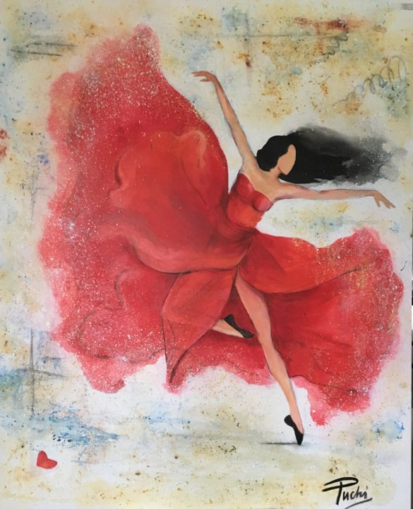 Dancer in Red - Painting,  60x72x1.5 in, ©2018 by Puchi -                                                                                                              Women, Dancers