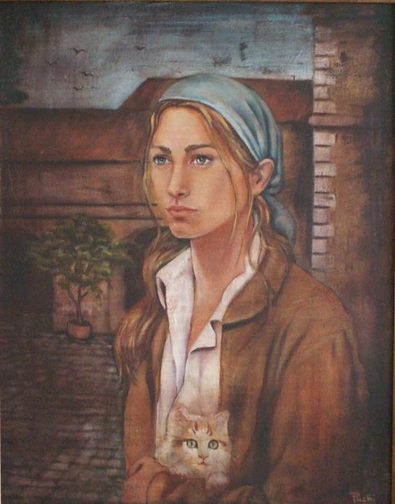 YOUNG WOMAN - Painting, ©2010 by Puchi -