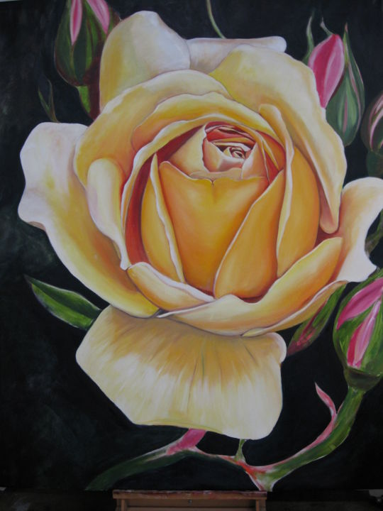 ROSE - Painting,  60x48x0.8 in, ©2017 by Puchi -                                                                                                                                                                          Figurative, figurative-594, Flower