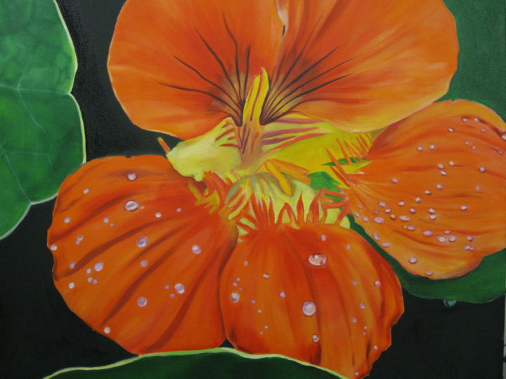 RED FLOWER - Painting, ©2017 by Puchi -