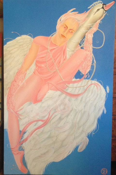 """Painting titled """"leda-and-the-feathe…"""" by Bel Kais, Original Art, Acrylic"""