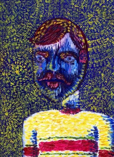 """Painting titled """"Man with Moustache"""" by Punit Vaidya, Original Art, Oil"""