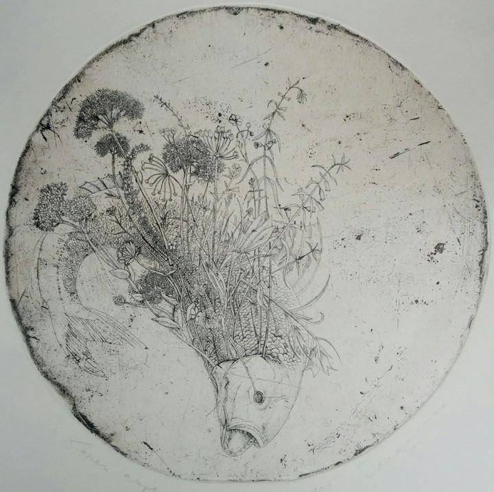 End of april - Prenten & gravures,  7,9x7,9 in, ©1999 door Vjacheslav Illjashenko -                                                                                                                                                                                                                                                                                                                                                                                                                                                                                                                                                                                                                                      Figurative, figurative-594, Seizoenen, Dieren, Landschap, Natuur, Zwart en Wit, etching, original image, etching on a copper plate, erchival atching ing, contemporary printmaking, fine art print