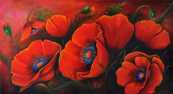 Poppies - Painting,  50x90x2 cm ©2018 by PETR GOYSAN -                                                        Art Deco, Canvas, Flower