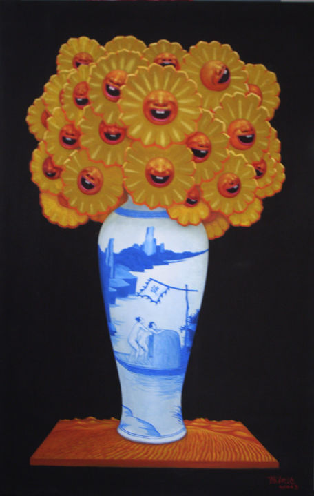 flower-size-90x140cm-year-2006.jpg - Painting,  55.1x35.4x0.4 in, ©2006 by Qiuchi Chen -                                                              World Culture