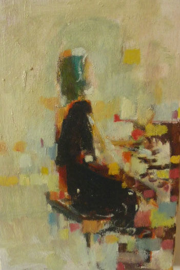 Sihouette au piano - Painting ©2009 by Pierre Quentel -                            Contemporary painting, huile sur toile 200 euros