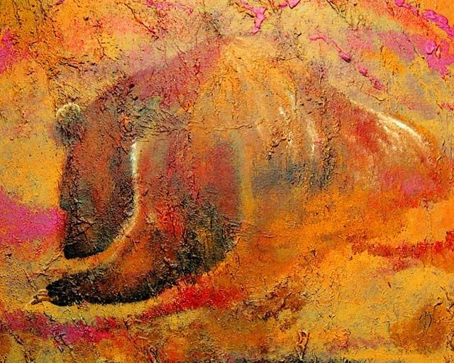 Cave Bear - Painting,  30x40x0.4 in, ©2007 by Clifford Vanmeter -                                                                                                                                                                          Figurative, figurative-594, art painting wildlife animal bear