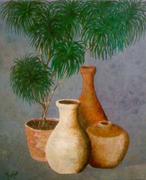 Jars & Plant - Painting,  23.6x17.7 in, ©2001 by Qusay Alawami -                                                                                                                                                                          Figurative, figurative-594, jar oil tree plant still life realisim