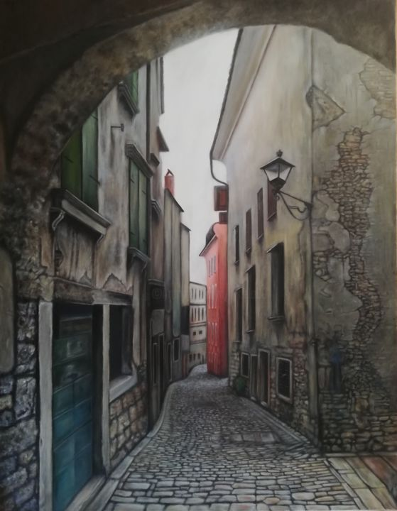 Old town - Painting,  35.4x27.6x0.1 in, ©2018 by Nela Radomirovic -                                                                                                                                                                                                                                                                                                                                                                                                                                                                                                                                                                                          Hyperrealism, hyperrealism-612, Architecture, Cities, Cityscape, architecture, city, cityscape, sky, oil, canvas, photorealistic