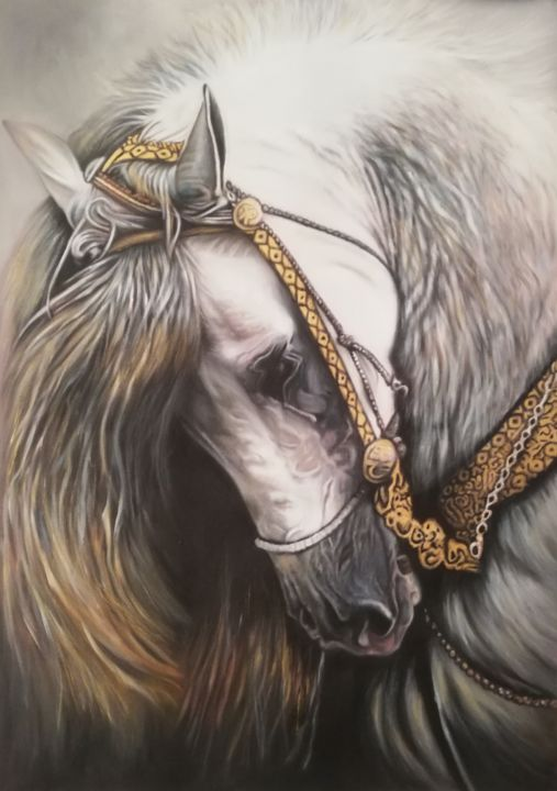 Horse - Painting,  37.4x27.6x0.1 in, ©2019 by Nela Radomirovic -                                                                                                                                                                                                                                                                                                                                                                                                                                                                                                  Figurative, figurative-594, Animals, horse, animal, black and white, gold, oil, canvas, figurative