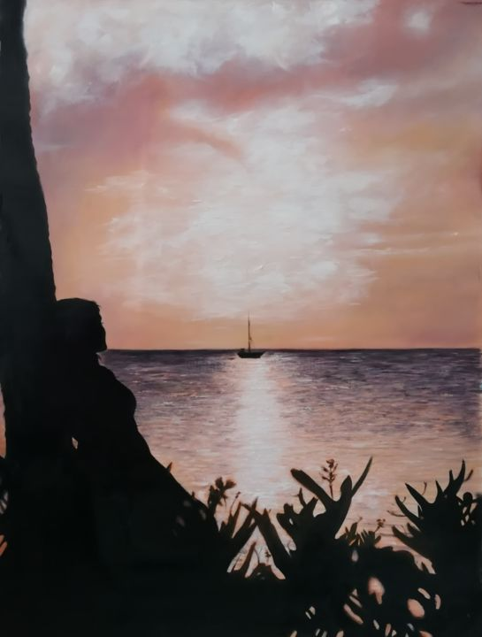 """Painting titled """"Girl and the ocean"""" by Nela Radomirovic, Original Art, Oil"""