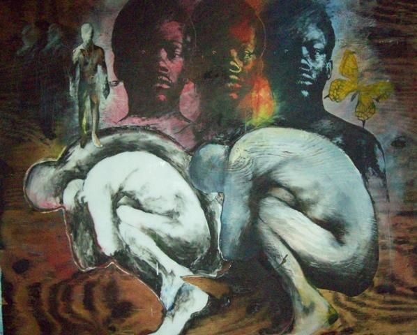 """Collages titled """"The Source"""" by Sylvester Hickmon, Original Art,"""