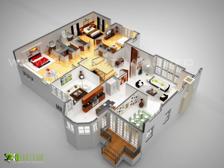 3D Luxurious Residentetial Floor Plan (Rachana Desai)