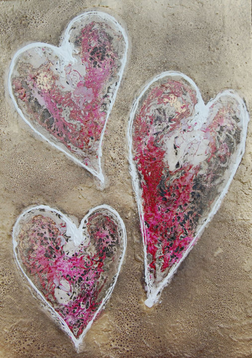 Love Hearts - Peinture,  21,3x0,8x29,1 in, ©2015 par Rachel McCullock -                                                                                                                                                                                                                                                                                                                                                                                                                                                      Abstract, abstract-570, Amour / Romance, anniversary, wedding, valentine, pink, gold, framed