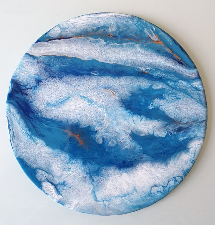 Blue planet - Painting,  30x30 cm ©2019 by Rachele Tofanelli -                                                            Abstract Art, Canvas, Abstract Art, blue