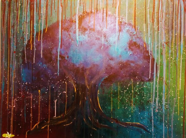 """Painting titled """"Psychedelic tree of…"""" by Rachelle Yacoub, Original Art, Acrylic"""