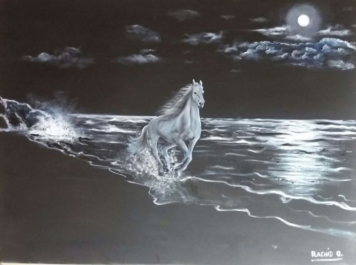 """Painting titled """"Il cavallo"""" by Rachid Ouala, Original Art, Oil"""