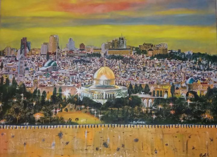 """Painting titled """"Gerusalemme"""" by Rachid Ouala, Original Art, Oil"""