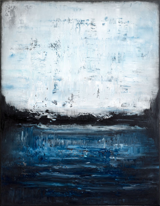 Blue abstract painting PT599 - © 2019 blue, white, abstract, landscape, contemporary, minimalist Online Artworks
