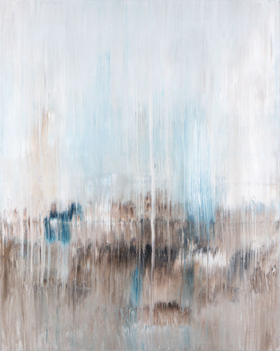 Abstract painting BT969 - Pittura,  39,4x31,5x0,8 in, ©2019 da Radek Smach -                                                                                                                                                                                                                                                                                                                                                                                                                                                                                                                                                                                                                                                                                                                                                                                                                                                                                                                                                          Abstract, abstract-570, Arte astratta, Paesaggio, Paesaggio marittimo, Muro, Abstract Expressionism, blue, brown, beige, white, expressive, lines, vertical, positive, soft, calm, energy, heal, modern