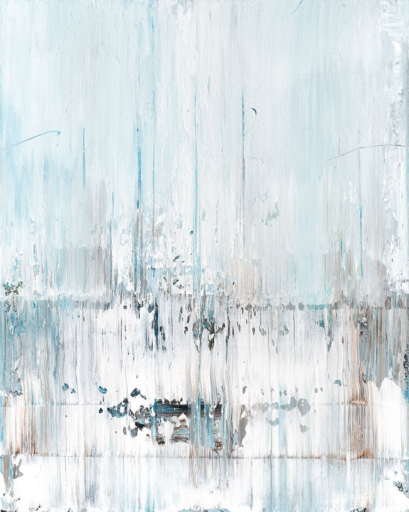 Abstract painting RT154 - Pittura,  39,4x31,5x0,8 in, ©2019 da Radek Smach -                                                                                                                                                                                                                                                                                                                                                                                                                                                                                                                                                                                                                                                                                                                                                                                                                                                                                                                                                          Abstract, abstract-570, Arte astratta, Paesaggio, Paesaggio marittimo, Muro, Abstract Expressionism, snow, winter, white, contemporary, blue, brown, grey, landscape, seascape, ice, cold, calm, soft