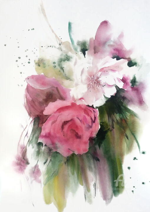 Original floral watercolor painting - Painting,  70x50x0.1 cm ©2019 by Anna Radis Art -                                                                                Abstract Art, Figurative Art, Realism, Flower, Kitchen, floral, flowers, botanical, watercolor, watercolour, art, painting, original, pink, figurative, abstract, bloom