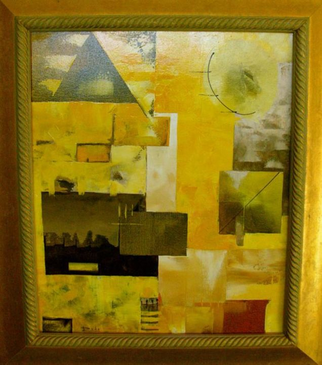 """Painting titled """"Landscape in yellow"""" by Radoart, Original Art,"""