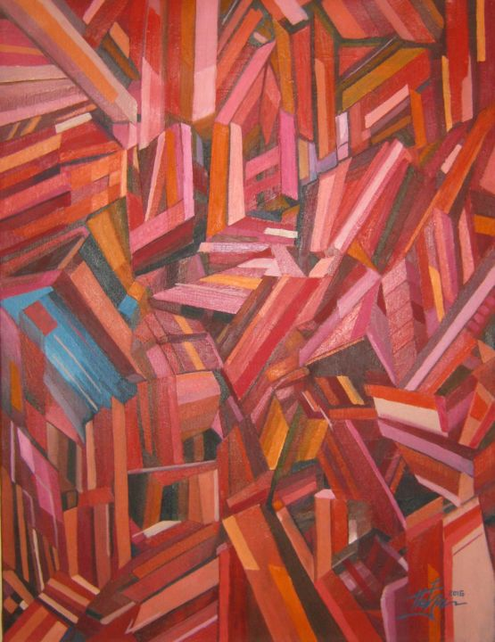 """Painting titled """"abstract red"""" by Predrag Radovanovic, Original Art, Oil"""