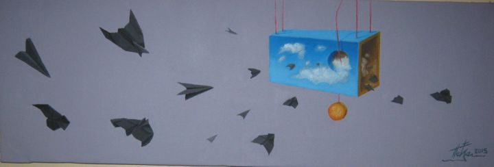 Airplanes 2 - Peinture,  8,3x25,6x0,8 in, ©2017 par Predrag Radovanovic -                                                                                                                                                                                                                                                                                                                                                                                                                                                                                                                                                                                                                                                                                                                                                                                                                                                                                                                                                          Conceptual Art, conceptual-art-579, Avion, Oiseaux, Couleurs, Intérieurs, painting, artwork, original, airplanes, paper airplanes, black, sky, flight, freedom, inspirativ, unique, sun, clouds, wiolet