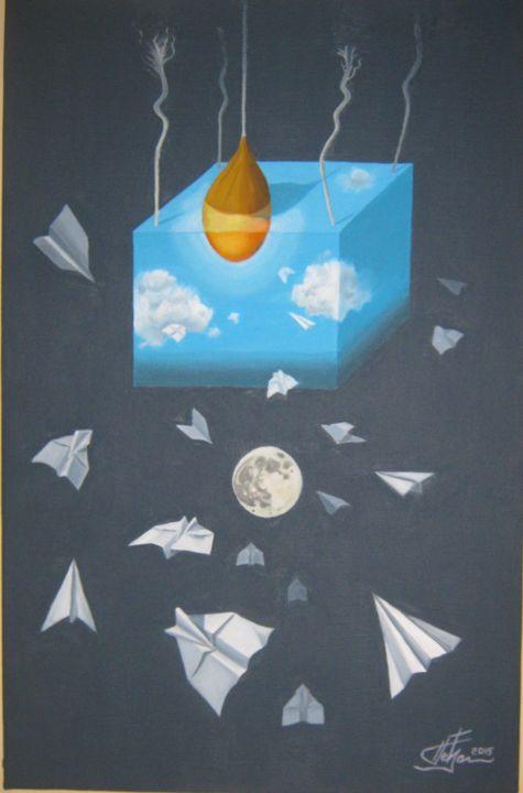"""Painting titled """"Airplanes 3 day and…"""" by Predrag Radovanovic, Original Art, Oil"""
