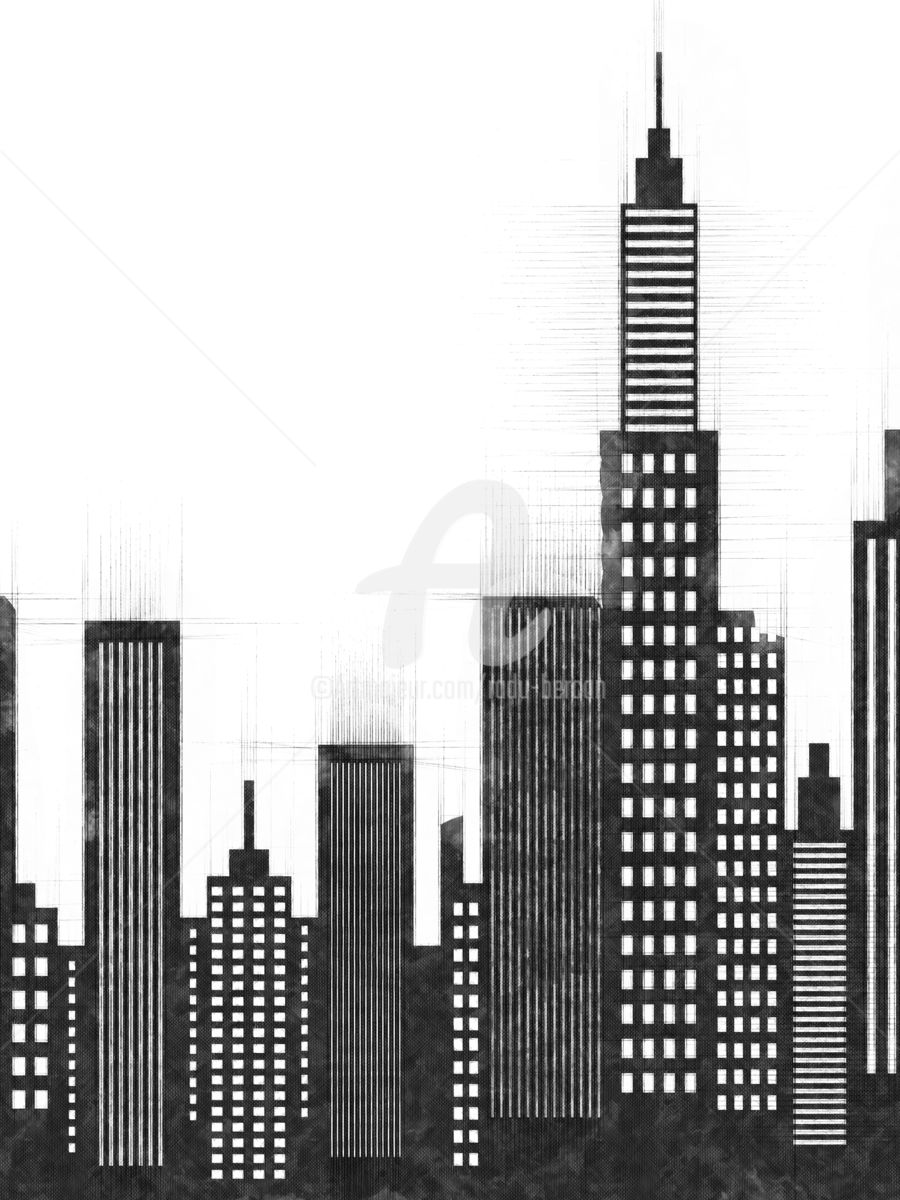 New York City Buildings And Skyscrapers Sketch