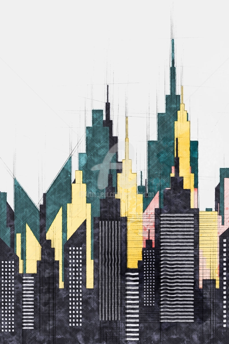 architectural drawings of skyscrapers. Contemporary Skyscrapers Colorful New York City Buildings And Skyscrapers  Digital Arts 2018 By  Radu Bercan In Architectural Drawings Of