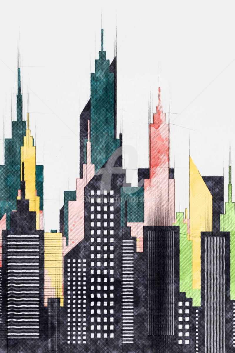 architectural drawings of skyscrapers. Plain Skyscrapers Colorful New York City Buildings And Skyscrapers  Digital Arts 2018 By  Radu Bercan In Architectural Drawings Of N